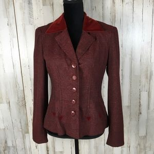 Nanette Lepore Red Button Down Blazer Jacket Coat